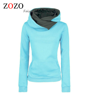 Falacs Zozo 2016 Women Casual Solid Hoodies Unisex Lapel Hooded New Sweatshirts Pullovers Turn-down Collar