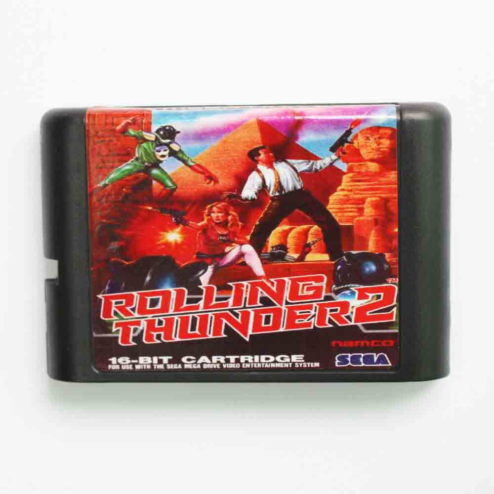 Sega MD game card – Rolling Thunder 2 for 16 bit Sega MD game Cartridge Megadrive Genesis system