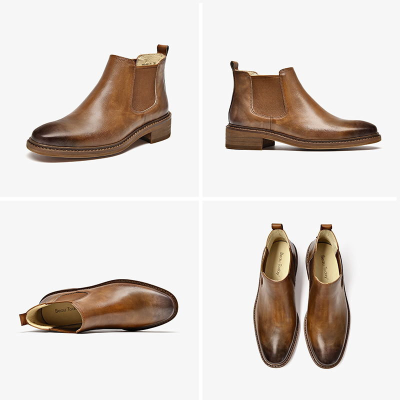Image 5 - BeauToday Chelsea Boots Women Polished Cow Leather Round Toe Genuine Leather Elastic Band Lady Ankle Shoes handmade 03276-in Ankle Boots from Shoes