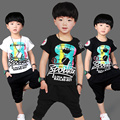Children's clothing child summer male set 2016 child summer short-sleeve T-shirt baby child casual set