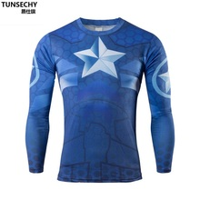 2017 the fall and winter of Brand martin long-sleeved superhero captain America male compressed tights T-shirt Cycling