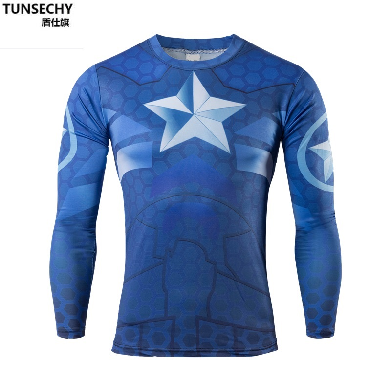 2017 the fall and winter of Brand martin long sleeved superhero captain America male compressed tights