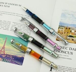 Image 2 - Набор прозрачных перьевых ручек Wing Sung 3008 Piston, EF/F Серебристые/GoldenTrim чернила, подарочная ручка для офиса, бизнеса, школы, 4 шт.