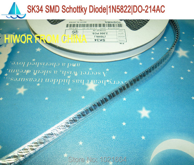 (200pcs/lot) 1N5822 SS34 SK34 SMD Schottky Barrier Rectifier Diode,  SMA Diode 3A 40V, DO-214AC