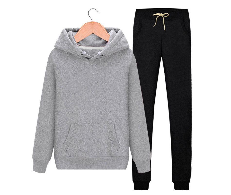 Women's Autumn Winter Cotton Tracksuit Hoodie+Splice Long Pants 2Pc Set 7