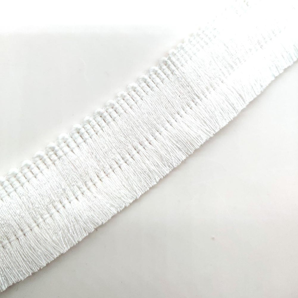 1Yards White Lace Ribbon Tassel Fringe Cotton Ethnic Lace Trim Ribbon Sewing Latin Dress Stage Garment Curtain Decorative Diy