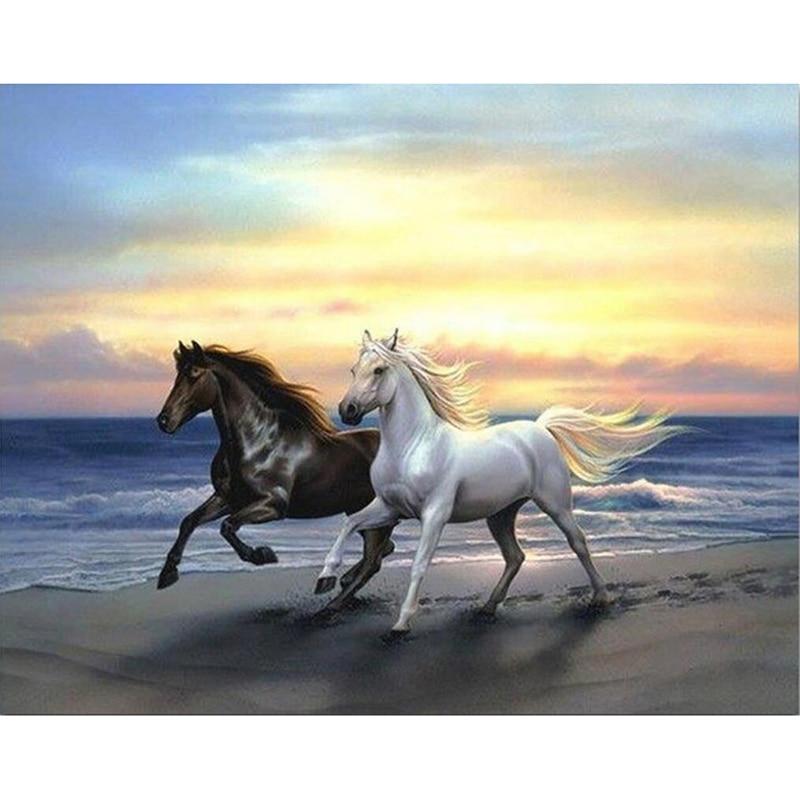 Hand vollbohrer diamant stickerei pferde laufen kreuzstich diy diamant mosaik tiere kristall runde strass LX