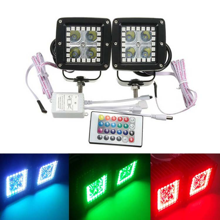 2pcs/set 12W 3 Inch LED Work Light RGB Angel Eye Flood Driving Work Light Bar with Remote Control For Jeep SUV Offroad Car