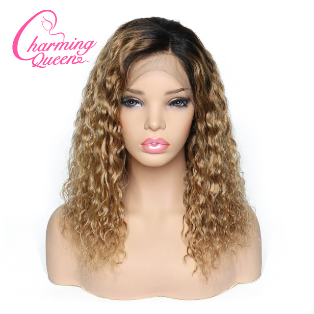 Lace Front Human Hair Wigs For Black Women Pre Plucked 13 4 Brazilian Remy  Hair Ombre Curly Short Bob Wigs With Baby Hair 4a4afdf91e57