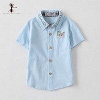 Kung Fu Formiga Turn-down Collar Pockets Azul Branco Verão Boy Camisetas Caráter Crianças Blusas de Algodão De Manga Curta Bonito 2677