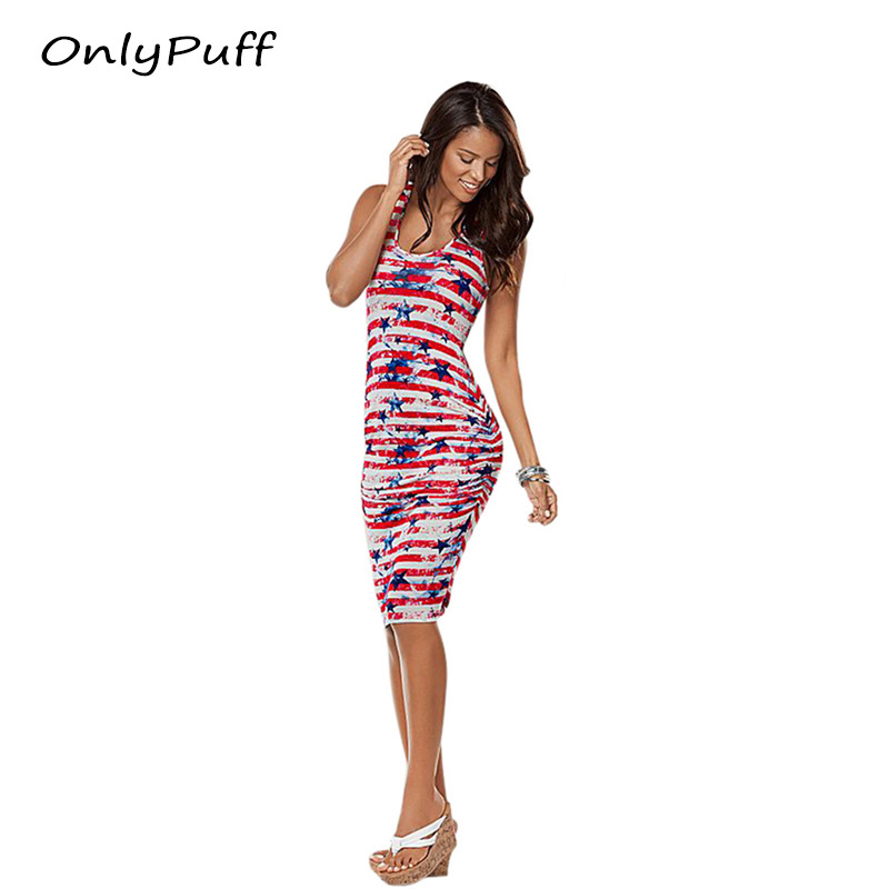 OnlyPuff July 4th American Flag Women Dress For Women Summer USA Girl Lady Clothes Clothing Sleeveless Mini Dresses 2017