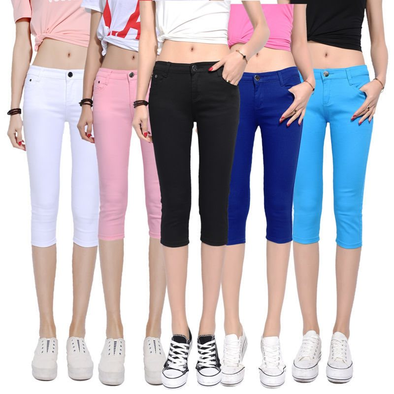 New Summer Candy Color 2019 Women Crop   Leggings   Slim Thin 3/4 Length Lady Leggin High Elastic Knee-Length female stretch cotton