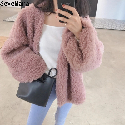 Faux lambswool oversized   jacket   coat Autumn Winter Loose   Basic     Jackets   Oversized Outerwear 2017 New Female Overcoat mujer QG013