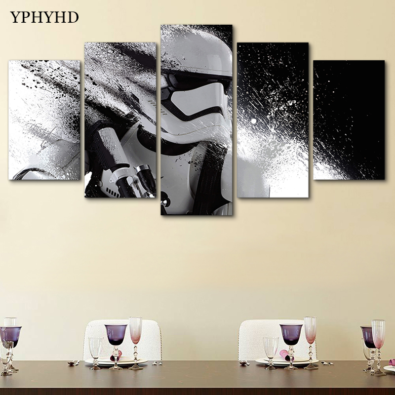 YPHYHD Modern Home Decor Star Wars White Knight 5 Piece Canvas Art ...