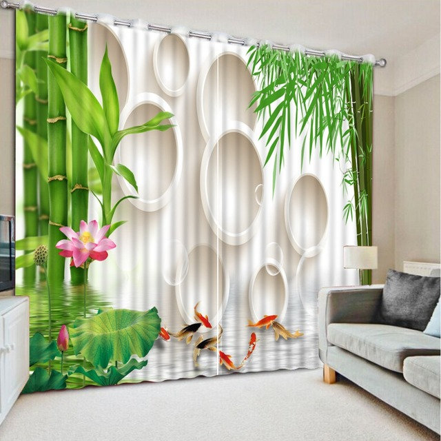 High quality luxury curtains 3d curtains custom Green bamboo living ...
