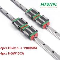 2pcs 100% original Hiwin linear rail guide HGR15 L 1900mm + 4pcs HGW15CA ( HGW15CC ) linear flange carriage block for cnc