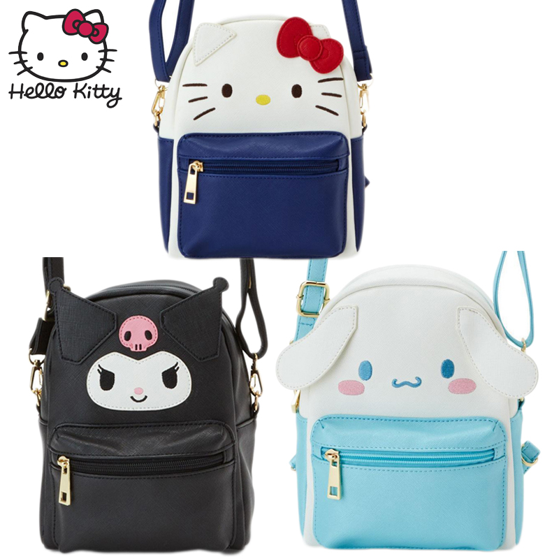 Hello Kitty Cute Cartoon Bag Hellokitty Fashion Women Single Shoulder Waterproof PU Leather Girls Clutch Children Plush Backpack