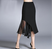 Spring And Autumn High Quality Irregular Flounce Skirt Women High Waist Hip Fishtail Skirt Sexy Chiffon