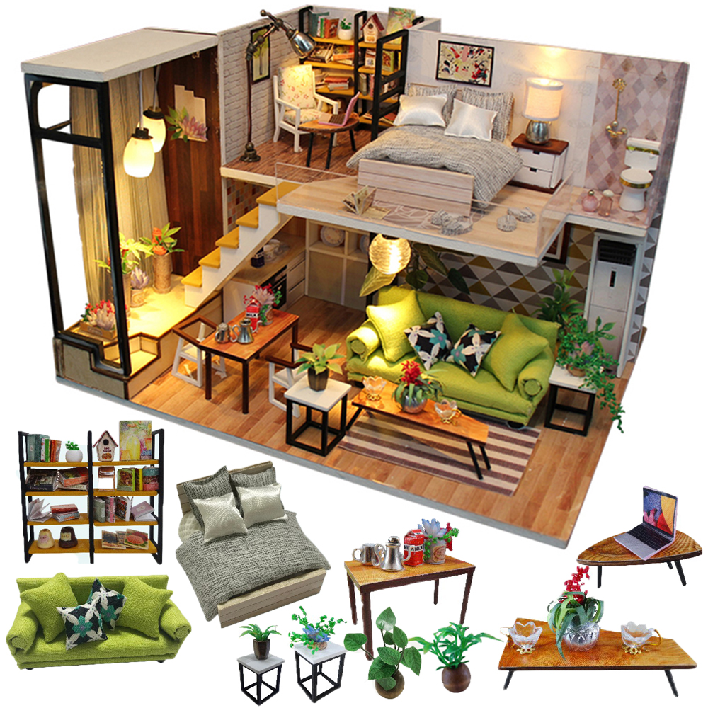 Cutebee Doll House Furniture Miniature Dollhouse DIY Miniature House Room Box Theatre Toys For Children Stickers DIY Dollhouse N