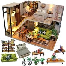 Cutebee Doll House Furniture Miniature Dollhouse DIY Miniature House Room Box Theatre Toys for Children stickers DIY Dollhouse N