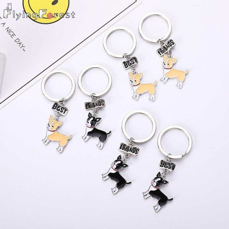 Keychain Chihuahua Dog Keychain Fashion Luxury Brand High Quality Car Keychain Best Friend Gift  Animal Men Jewelry