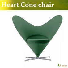 U-BEST Reproduction Fiberglass Сердце Конус Стул Мягкой Ткани С Металлическим Основанием