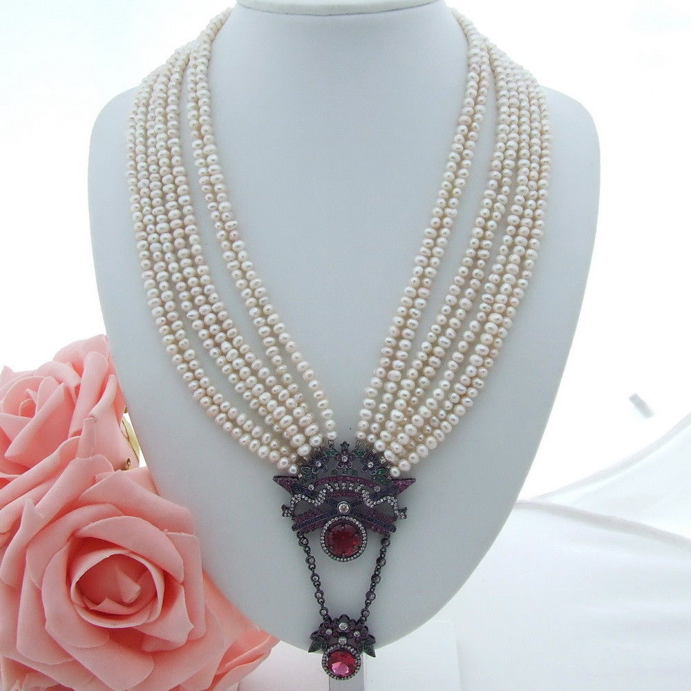AB071007 7 Strands White Pearl Necklace CZ Pendant 20-23AB071007 7 Strands White Pearl Necklace CZ Pendant 20-23