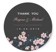 1.5inch Pink Gray Sakura Flower Wedding Favor Sticker