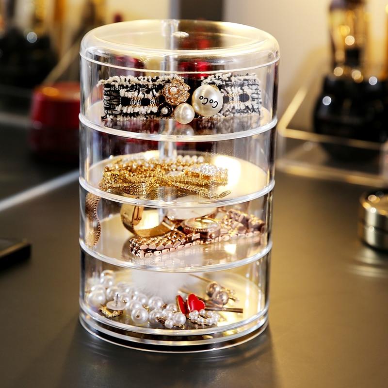 HTB1IkuNXZ vK1RkSmRyq6xwupXak - Rotating Crystal Cosmetic Storage Box 360 Degree Rotation Transparent Acrylic Cosmetics Storage Box