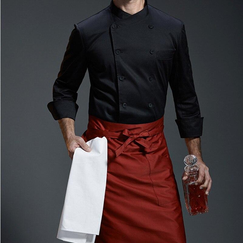 White Gray Black Long Sleeve Shirt Barista Hotel Restaurant Kitchen Chef Uniform Bistro Baker Bartender Catering Work Wear B95