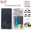 100% Тест ЖК Рамка Для Sony Xperia Z L36h C6603 L36H ЖК-Дисплей с Сенсорным Экраном С Дигитайзер Ассамблеи С Рамкой