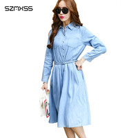 Koran Style Long Sleeve Denim Dress Women Casual Slim 2017 Summer Dresses Vestidos Plus Size Turn
