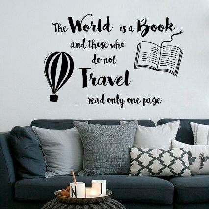 world is book quote wall sticker travel design wall art decal