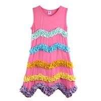 YIWU Factory Direct Wholesale Baby Girl Summer Dress Princess Pink Multilayer Ruffles Kids Clothing Beautiful Remake