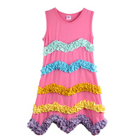 YIWU Factory Direct Hurtownie Baby Girl Summer Dress Księżniczka Różowy Wielowarstwowa Ruffles Dzieci Odzież Piękne Remake Sukienka 008