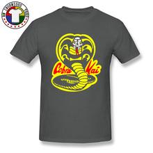 Tajski jadowity wąż Cobra Kai T koszula w całości z bawełny Crewneck Casual topy i koszulki śmieszny T-Shirt tkanina bawełniana modne ubranie tanie tanio YOYLAP Krótki O-neck tops Tees Normal Suknem COTTON CASHMERE Z wełny Stretch Spandex SILK Poliester Włókno bambusowe