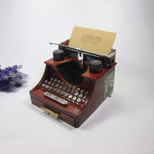 Old style Typewriter machine music box creative retro brown musical box with a drawer home decoration craft 14.5×13.5x11cm