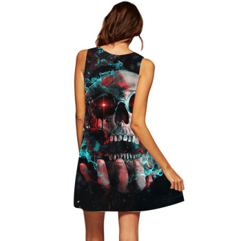 Vestidos De Festa Skull Dresses For Women Casual Sleeveless Dress Character Summer Beach Dress Robe Femme Ete 2019 1