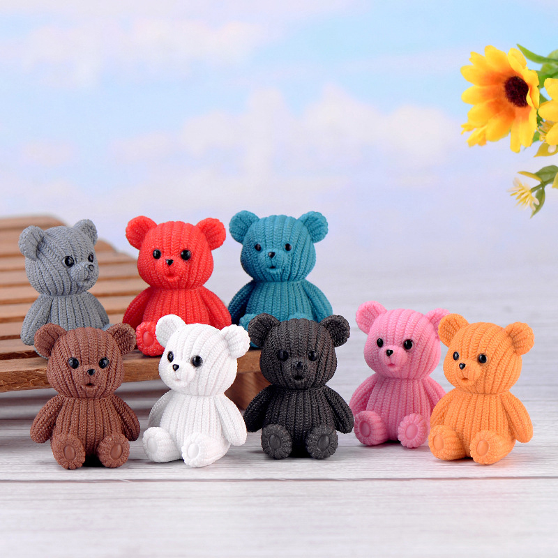 3.5*4.5cm Mini Cute Wool Bear Action Figure Toys Animal Bear Model Figure Toy Collection Doll Toys For Figurines Home Decoration