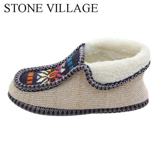 STONE VILLAGE Winter Warm Plush Slippers Print Knitted Home Slippers Soft Bottom Cotton Women Slippers Shoes Indoor Shoes Woman