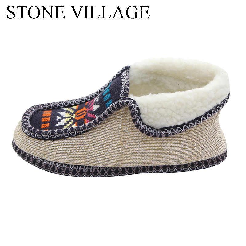 TAŞ KÖY Kış sıcak Peluş Terlik Baskı Örme Ev Terlik Yumuşak Alt Pamuk Kadın Terlik Ayakkabı Kapalı Ayakkabı Kadın
