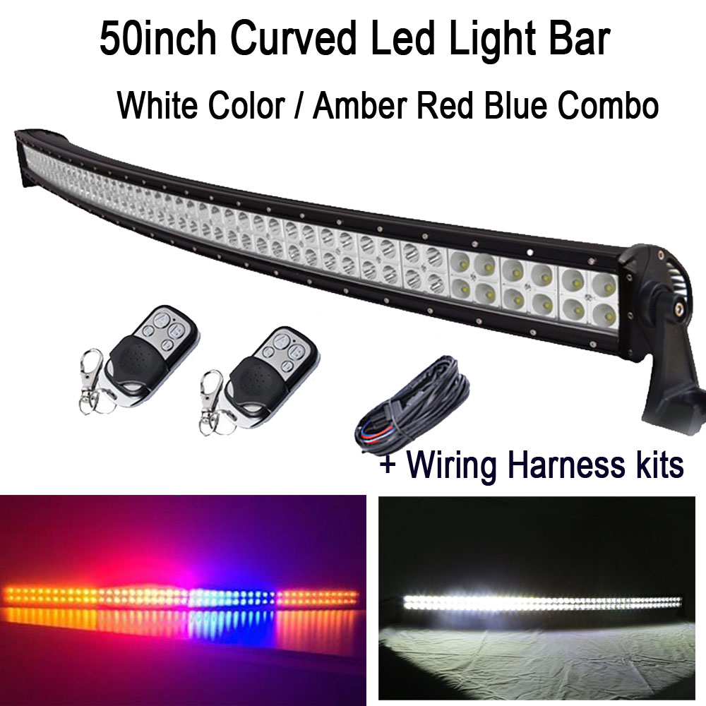 50 288W White/ Amber Red Blue Amber StrobeFlash Led Curved Work Light Bar Signal Lamp Decoration + Wiring harness kits + remote