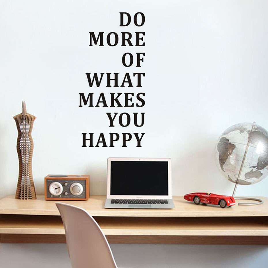 Do More Of What Makes You Happy Wall Sticker Inspiring Quotes Wallpaper Motivational Bedroom Decor