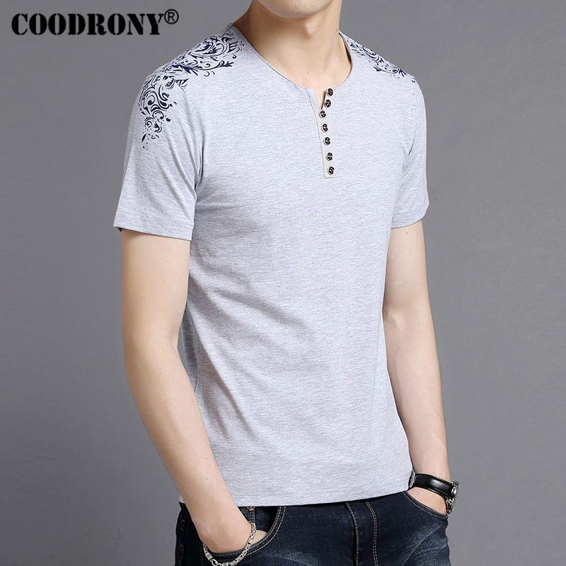 COODRONY   T  -  Shirt   Men Brand Clothing 2017 Summer New Short Sleeve Henry Collar   T     Shirt   Men Fashion Floral Print Cotton Tees S7603