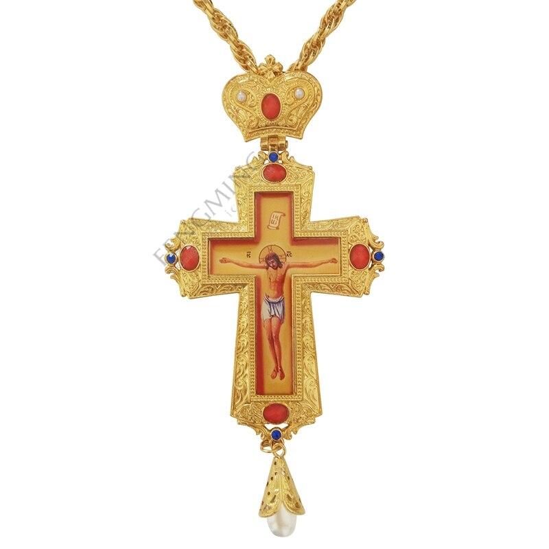 Hoge kwaliteit handmatige cross Set vijzel goud en zilver kleur orthodoxe Rusland kruis Rusland Sieraden pastor craft supplies-in Christelijke platen van Huis & Tuin op  Groep 1