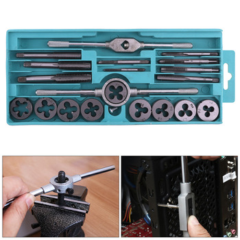 20PCS M3-M12 Metric Tap and Die Set Tap Drill Bits Tap Wrench Threading Tools for Metalworking Hand Tool Kit Thread Screwdriver 1pc metric left machine tap m26 x 3mm tap threading tools 26mm x 3 0mm pitch