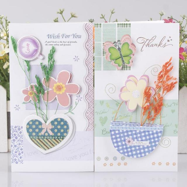 Aliexpress Buy 8 Pcs Plant Dried Flower Greeting Card Happy
