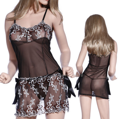 Sexy Lingeries Plus Size XL XXL XXXL 5XL 6XL Women Black Lace Embroidery Sexy Cute Lingerie Pajamas Underwear Skirts Nightwear 4