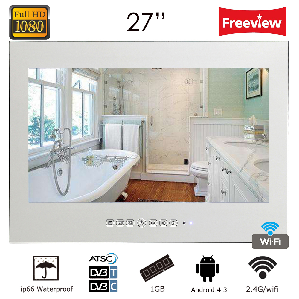 Souria New Design 27 inch Waterproof Android Smart Vanishing Magic Mirror TV with LAN WiFi Built-in Speakers Hotel Television ...