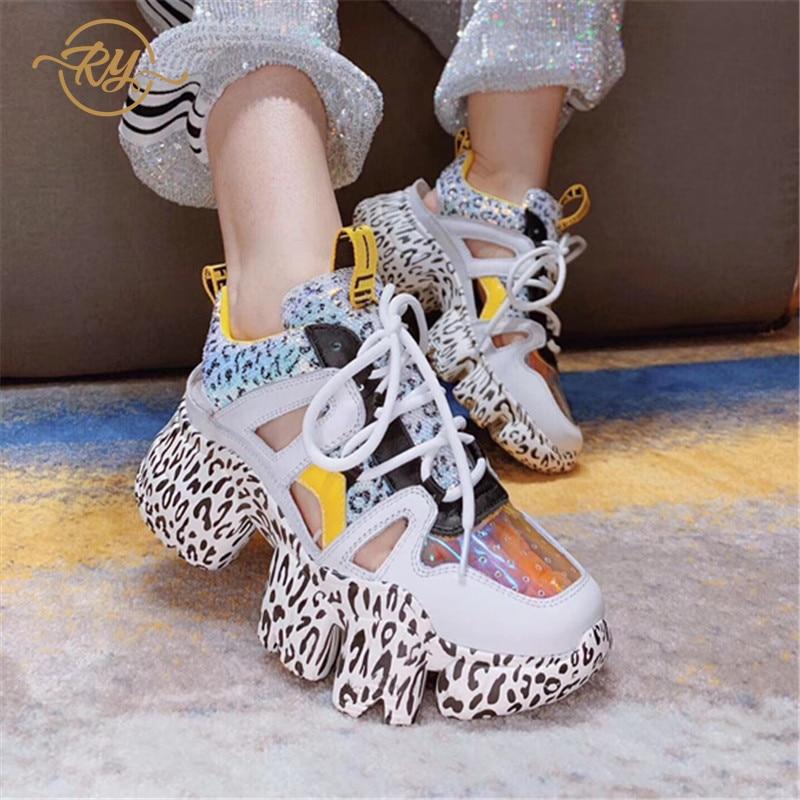 RY-RELAA femmes mode baskets femmes 2018 blanc cassé chaussures en cuir véritable femmes plate-forme chaussures tennis à semelles compensées chaussures femme
